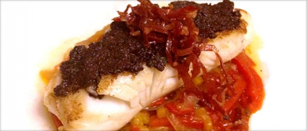 Virginia Monaco Hake a la Plancha with Empeltre Olive Spread and Piperade